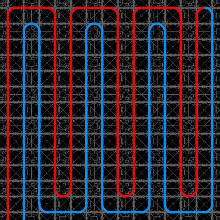 Dubbel Meanderpatroon legplan vloerverwarming